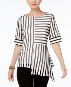 Alfani Petite Striped Mesh Asymmetrical Top, Only at Macy's - White P/XS
