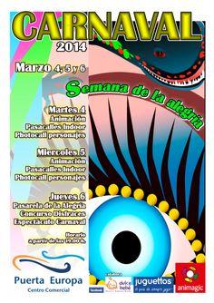 Este Carnaval 2014 volvemos a repetir fiesta de color y alegria en el CC. PUERTA EUROPA, Vuelve animagic, vuelve el mejor carnaval.