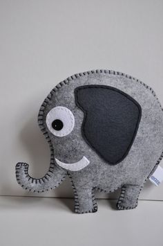 RESERVED for Carrie Elephant pillow all hand sewn por HibouDesigns