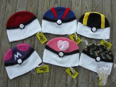 Complete set of Pokeball beanies for the upcoming Kilgore Geekend- May the 4th Be With You From Left to right: Pokeball, Greatball, Ultraball, Masterball, Love ball, Safari ball $25 and can also be...