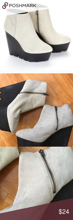 """Cheap Monday Monolit Suede Booties These suede wedge booties feature a tapered toe and vertical seam details. Exposed zipper at inner side. Foam-covered platform and wedge heel. Heel 5"""". Only worn a few times but signs of wear from being in closet reflected on price! Lots of life left!!! Cheap Monday Shoes Ankle Boots & Booties"""
