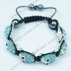Shamballa Bracelet, alloy skull aquamarine rhinestone beads, adjustable.