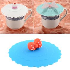 Cute Anti-dust Glass Cup Cover Coffee Cup Suction Seal Lid Cap Silicone Airtight Love Spoon Novelty Hot