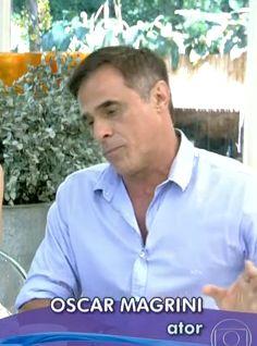 """Oscar Magrini veste camisa Etiqueta Negra Hombres Elenco comenta as cenas de ciúmes do personagem Laerte da novela """"Em Família"""" , programa Mais Você da Ana Maria Braga."""