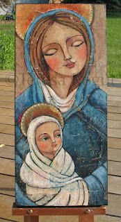 Teresa's Creative Whims: Mary & Jesus wip Religious Icons, Religious Art, Jesus Art, Blessed Mother Mary, Mary And Jesus, Madonna And Child, Catholic Art, Caravaggio, Angel Art