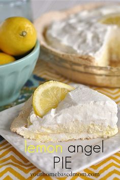 Lemon Angel Pie  ~  The pie is so light and wonderful it almost just melts in your mouth. AWESOME summertime dessert!
