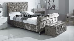 Sleigh bed Crushed Velvet | COMFORT DIRECTION