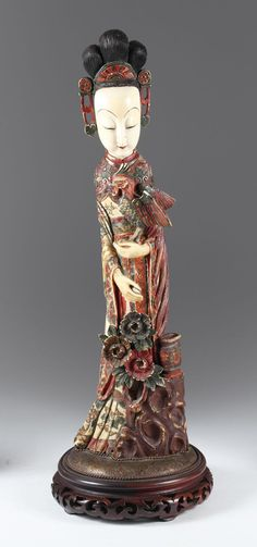 Chinese Carved and Polychromed Ivory Figure, c. 1900