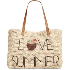 Style & Co Love Summer Straw Beach Bag, ($35) ❤ liked on Polyvore featuring bags, handbags, tote bags, beach, love summer, tote handbags, straw tote bags, white tote bag, straw tote beach bag and white handbags