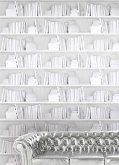 Great idea to use with MagLiner and custom magnets. Wallpaper Bookshelf - White — Bodie and Fou - Award-winning inspiring concept store Wallpaper Bookshelf, Book Wallpaper, White Wallpaper, Bookshelf Wall, Wallpaper Decor, Wallpaper Ideas, Unique Wallpaper, Wallpaper Designs, Wallpaper Panels