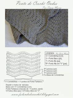 "Ripple stitch pattern by ""FALANDO DE CROCHET"""