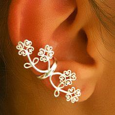 Silver Ear Cuff  Ear Wrap  Wrap Earrings  Flower by RONIBIZA