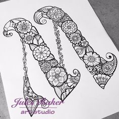 coloring pages - Digital Coloring Page Letter M from Letter Doodles Coloring Book Doodle Alphabet, Doodle Art Letters, Book Letters, Drawing Letters, Doodle Lettering, Lettering Design, Design Letters, Alphabet Design, Alphabet Art