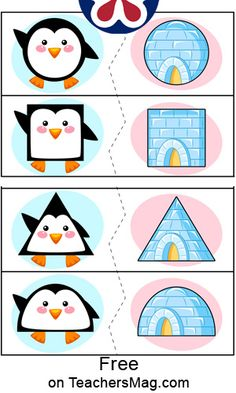 This Penguin shape matching activity is great fun to do with your students! It is wonderful for doing an Antarctic theme full of snow, ice, and penguins! Educational Activities For Kids, Preschool Themes, Craft Activities For Kids, Book Activities, Shape Activities, Shape Matching, Number Matching, Winter Crafts For Kids, Kids Education