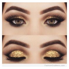 +30 Gorgeous Golden Holiday Makeup ideas for New Years Eve Party ❤ liked on Polyvore featuring beauty products and makeup