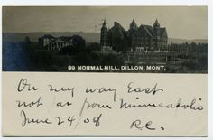 MT Montana Dillon Normal Hill Posted 1908 Real Photo RPPC