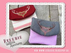 LeoLilie: Freebie Geldbörse Alpencharme ITH Embroidery On Clothes, Simple Embroidery, Hand Embroidery, Diy Embroidery For Beginners, Embroidery Techniques, Free Machine Embroidery Designs, Embroidery Patterns, Brother Embroidery, Wallet Pattern