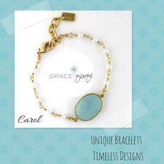 Carol - Hand wrapped semi-precious beaded chain with a faceted set bezel stone.  http://www.gracegeorge.com/Carol_Bracelet_p/fa12carolbr.htm