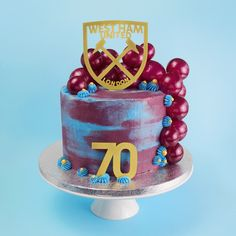 West Ham Cake, 3 layers of vanilla sponge, buttercream and jam filling. Gelatin bubbles to decorate. Bubble Cake, Birthday Cake For Him, 16th Birthday, Birthday Cakes, Two Tier Cake, Mermaid Cakes, West Ham, Novelty Cakes, Drip Cakes