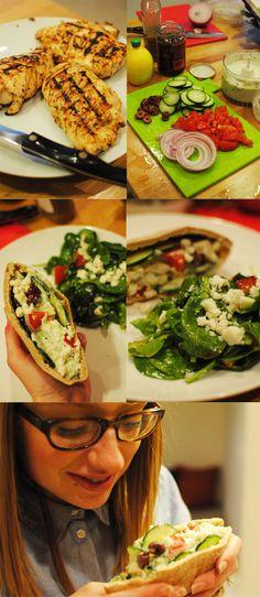 greek chicken pitas + taziki sauce recipe (served with sangria) Mmmmmm I love fetta cheese!!!!!