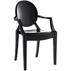 @Overstock.com.com - Philippe Starck Louis Black Ghost Style Chair - Intensify the visual impact of your indoor or outdoor furnishings with this Philippe Starck Louis Ghost accent chair. Crafted from durable polycarbonate, this stark-black chair gives you an exciting seating option that will match your modern decor.  http://www.overstock.com/Home-Garden/Philippe-Starck-Louis-Black-Ghost-Style-Chair/7154872/product.html?CID=214117 $136.99