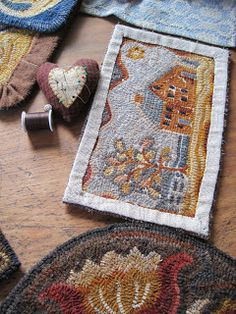 "My Red Cape: For Cathy, Hooked Rug Binding. A gentle discussion on rug binding options. By Edyth O""Neill. Rug Binding, Rug Hooking Designs, Cross Stitch Embroidery, Hand Embroidery, Hand Hooked Rugs, Pillow Tutorial, Penny Rugs, Traditional Rugs, Punch Needle"
