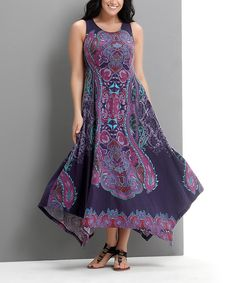 Look at this Purple Paisley Sleeveless Handkerchief Maxi Dress - Plus on #zulily today!