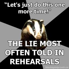 Backstage Badger (theatre techies)....what's sad is how true this really is lmao
