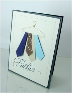 32 Best Homemade Fathers Day Gifts - Happy Father Day Card Father's Da. 32 Best Homemade Fathers Day Gifts - Happy Father Day Card Father's Day Tie Card ~ To make the hanger use w Homemade Fathers Day Gifts, Cool Fathers Day Gifts, Fathers Day Crafts, Fathers Day Cards Handmade, Happy Fathers Day Cards, Tarjetas Diy, Masculine Cards, Cute Cards, Men's Cards