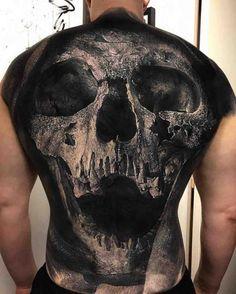 Grey Skull Tattoo on Full Back | Best Tattoo Ideas Gallery