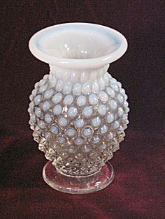 Vintage Fenton Pre Logo Opalescent Hobnail Mini Footed Bud Vase