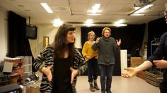 Students rehearsing on group storytelling