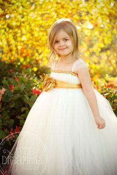 Light Ivory Flower Girl Tutu Dress with Gold by littledreamersinc