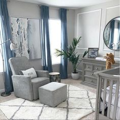 Blue and Grey Nursery These blues and greys are a match made in heaven 😍 (📸 . ✨Sierra swivel glider and gliding ottoman available exclusively at Buy Buy Baby Baby Nursery Inspiration, Furniture, Room, Blue Nursery, Baby Boy Room Nursery, Baby Room Decor, Home, Nursery Baby Room, Nursery Room Boy
