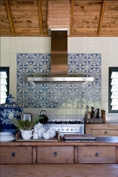 moroccan tile backsplash white kitchen - Handmade tiles can be colour coordinated and customized re. shape, texture, pattern, etc. by ceramic design studios