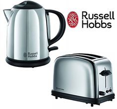 Russell Hobbs Compact Twin Pack Kettle & Toaster Polished Stainless Steel Kitchen...
