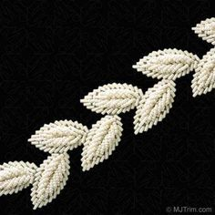 "1.5"" BUGLE / SEED BEADED LEAF TRIM option to be made into wedding dress belted trim. I like this and the green or blue iris colors."