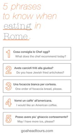 Learning Italian - Five phrases to know when eating in Rome Italian Grammar, Italian Phrases, Italian Words, Italian Quotes, Italian Language, French Language, Korean Language, Japanese Language, Spanish Language