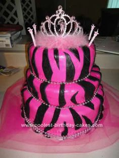 Homemade Pink Zebra Print Birthday Cake: I used fondant for this Pink Zebra Print Birthday Cake. The top is lemon, then Root Beer, last is strawberry. I made everything from scratch except the