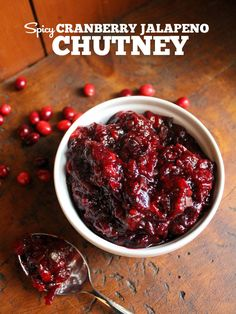 Spicy Cranberry Jalapeno Chutney. Would make a great appetizer spread over a block of cream cheese, with crackers