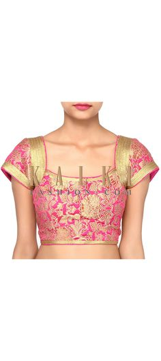 Buy Online from the link below. We ship worldwide (Free Shipping over US$100). Product SKU - 302523. Product Link - http://www.kalkifashion.com/featuring-pink-brocade-blouse-only-on-kalki.html