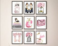 Blush, pink, Fashion, collage, set, 8x10, inches, set of 9, Fashion illustration, peony, perfume, shoes, books, Gold, rose gold, above bed