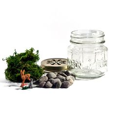 Mini terrarium kit / I really like the perforated lid and the tiny vintage german toys.