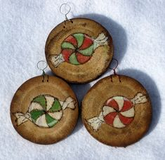 set of 3 holiday painted and wood burned barkless by artpixie, $18.00