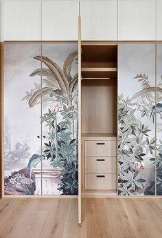 MWAI - Human spaces with craft Wardrobe Door Designs, Wardrobe Design Bedroom, Wardrobe Doors, Bedroom Decor, Whole House Ventilation, Wallpaper Door, Wallpaper Panels, Custom Wallpaper, Interior Decorating