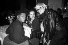 Basquiat, Tina Chow, and Andy Warhol at Susan Blond's dinner party for Ozzy Osbourne at Mr. Chow's 1986