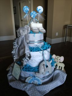 Elephant Diaper cake. Baby Boy! Made by Liz C.