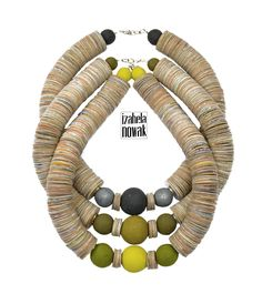 Izabela Nowak / Upcycling / Recycling / Reusing / Reused / Contemporary jewelry / necklace / naszyjnik / Material> milk & juice boxes & polymer clay / FB> www.facebook.com/izabelanowakdesign
