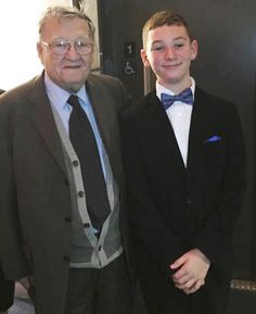 "Rabbi Rafael Grossman, the real-life ""Aaron,"" poses with the young actor Leo Hojnowski, who played the rabbi's fictional counterpart, at the New York premiere of GREENHORN. Photograph by Leo Hojnowski, Sr."