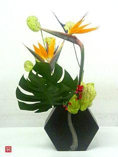 Ikebana with bird of paradise